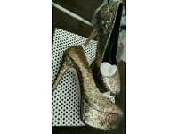 Multi glitter high heel shoes brand