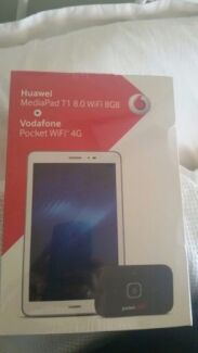 Huawei Mediapad Android Tablet. 8.0 t1 + 4G Pocket Wifi. Brand New