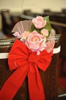 20 Pew Flowers Church Decoration with Red Ribbons and band