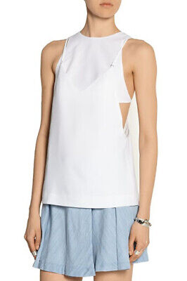 T By ALEXANDER WANG White Layered Sleeveless Stretch-Crepe Cami Top Sz 4