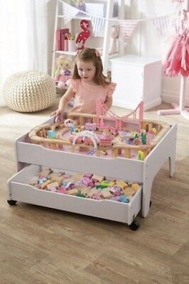 A PINK Wooden Train Set Reversible City Table With Storage Drawer Toys Playset