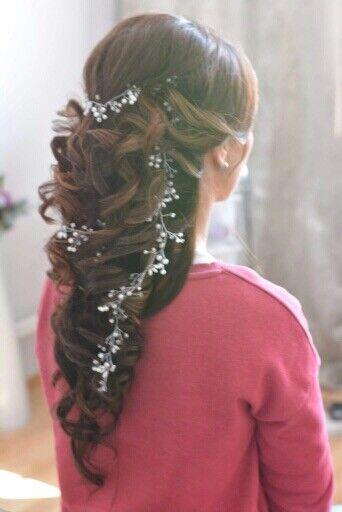 XXL Haarschmuck Brautschmuck Hochzeit Haarkette Haarband Haardraht Silber Gold