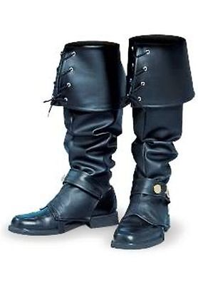 MENS BOOTS SHOES SPATS TOPS COVERS PIRATE COLONIAL RENAISSANCE COSTUME BLACK - Costume Boot
