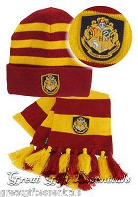HARRY POTTER HOGWARTS HAT & SCARF SET w/ CREST Gryffindor  *LICENSED* NEW