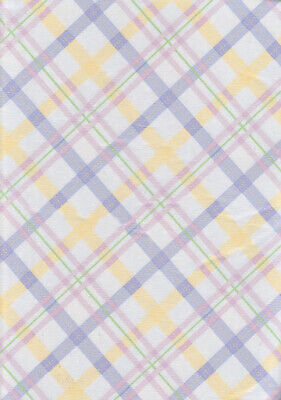 Easter Tablecloth 52x70 Oblong Vinyl Flannel Backed Spring Plaid Pastel Colors (Spring Tablecloth Vinyl)