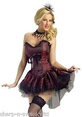 Saloon Outfit (Ladies Sexy Saloon Girl Burlesque Brothel Wild West Fancy Dress Costume)