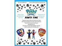 Paw Patrol Party - children's mascots, with balloons and party boxes