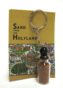 SAND FROM THE HOLY LAND JERUSALEM ISRAEL SOUVENIR GIFT ON KEYRING KEYCHAIN