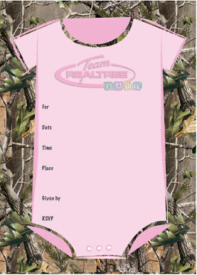 Camo Baby Shower Invitations (Camo Baby Shower Invitations  White Pink OR Green Realtree AP All)