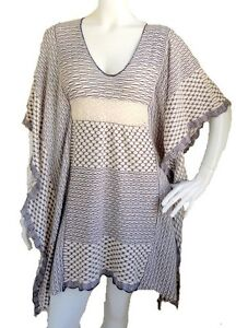 NWOT Missoni Orange Label Long Net cream navy Cotton Kaftan size 38