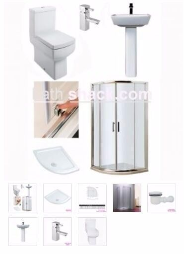 quadrant shower with vanity package from as low as £489