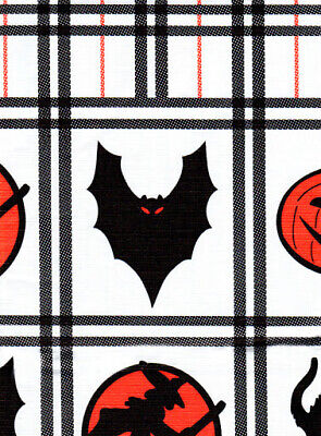 52 x 70 Halloween Tablecloth Vinyl Flannel Backed Plaid Bats