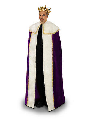 Men King Cloak Cape Robe Renaissance Medieval Purple Burgundy Costume Halloween