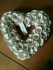 Wooden Heart Wreath in Cream