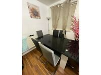 Tempered Glass Dining Table Black and White with 6 Leather Chairs