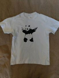 White Bansky Panda T-shirt small