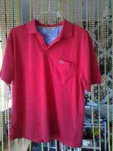 NEW LACOSTE MADE IN FRANCE TECHNO RED SHIRT SIZE 4 LARGE