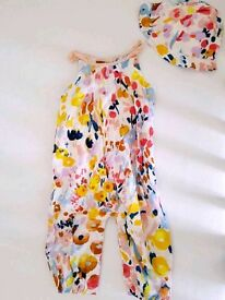Marks & Spencer's baby girls floral all in one romper suit with hat