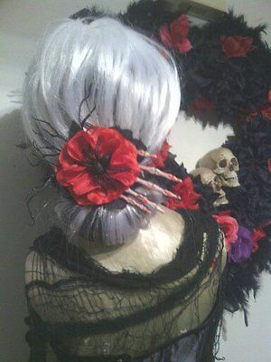 Day of the dead costume, creepy hand and spider with Flower hair Accessory.](Day Of The Dead Hair Flowers)