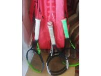 Tennis rackets and bag