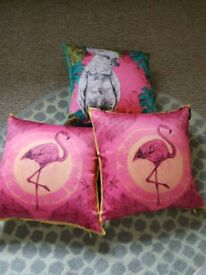 Three Faux Silk Decorative Bed room / Living Room Pillows
