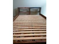 Brand new bed frame, vintage wooden bed, double bed, solid wood, recycled solid wood bed