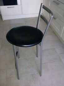 Metal Kitchen Stools with solid leather seat.