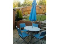 Turquoise Blue Patio Set - 4 Chairs, Table and Parasol