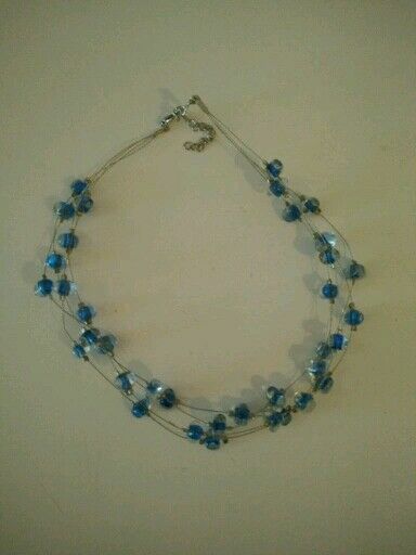necklace blue lampwork single blown bead glass modern jewelry pin