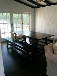 RECLAIMED WOOD BEAM DINING ROOM TABLE/BENCH SET