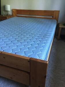QUEEN IKEA SOLID WOOD BED with FREE MATTRESS_DELIVERY