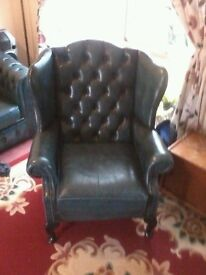 leather sofa & wing backed arm chair , blue , exellent condition ,