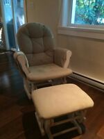 Like new white wooden rocking chair and ottoman
