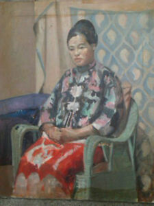 4 Signed Oil Paintings,Clark Stevenson,Chinese Woman,Still,30x36