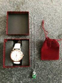 Ladies Watch + necklace + box Gift Set
