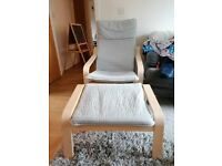 Ikea Poang Armchair and Footstand