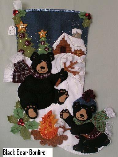 "NEW Handmade 18"" Bucilla Black Bear Bonfire Felt Stocking"