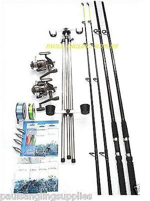 Sea Fishing Kit Set 12ft 2 Rod 2 Reel Tripod Tackle Beachcasters