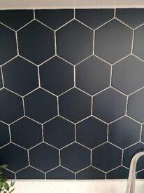 Navy hexagon tiles