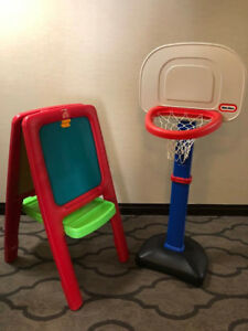 Easel, Basketball Hoop and Bowling Pin Set