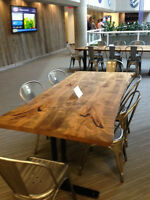 LIVE EDGE WOOD OFFICE DESK CONFERENCE TABLE HARVEST TABLES