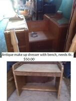 Antique make-up vanity with bench.