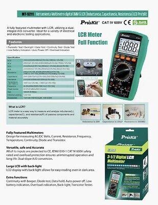 New Certified Pros Kit Mt-5211 Digital Lcr Multimeter 3-12 Digits Cat Iv 600v