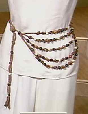 Mary McFadden Belt New in Designer Signed Box with Tags Wood 5 Strand