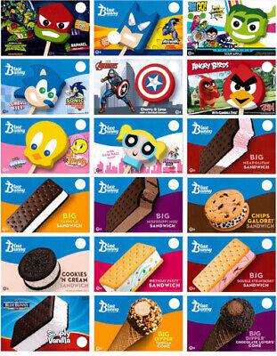 18 Mix Blue Bunny Ice Cream Truck Decals Cones Sandwichesice Cream Characters