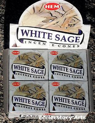 Hem White Sage Incense 10-20-30-40-50- 60-80-100-120 Cones You Pick Amount {:-) ()