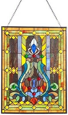 Elegant Tiffany Stained Glass Fleur de Lis Window Panel