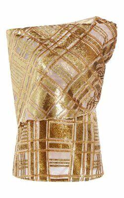$1,595.00 Baja East Gold Metallic One Shoulder Top Sz.0