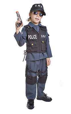 BOYS KIDS CHILDRENS S.W.A.T. POLICE OFFICER FANCY DRESS UP SWAT COSTUME AGE 4-14
