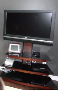 3 Glass Shelf Entertainment stand with TV Mount